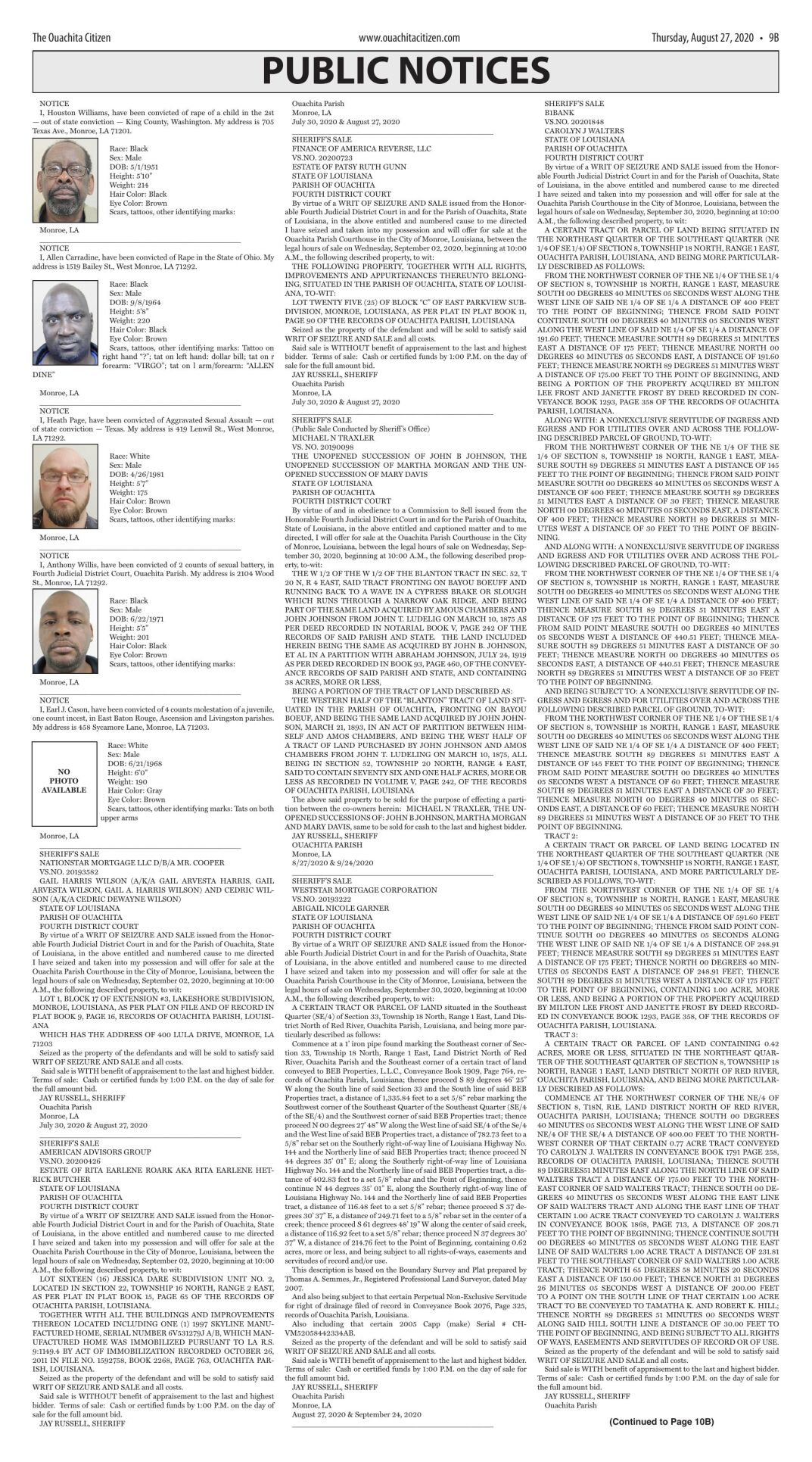 Aug. 27, 2020 Public Notices, click to download pages