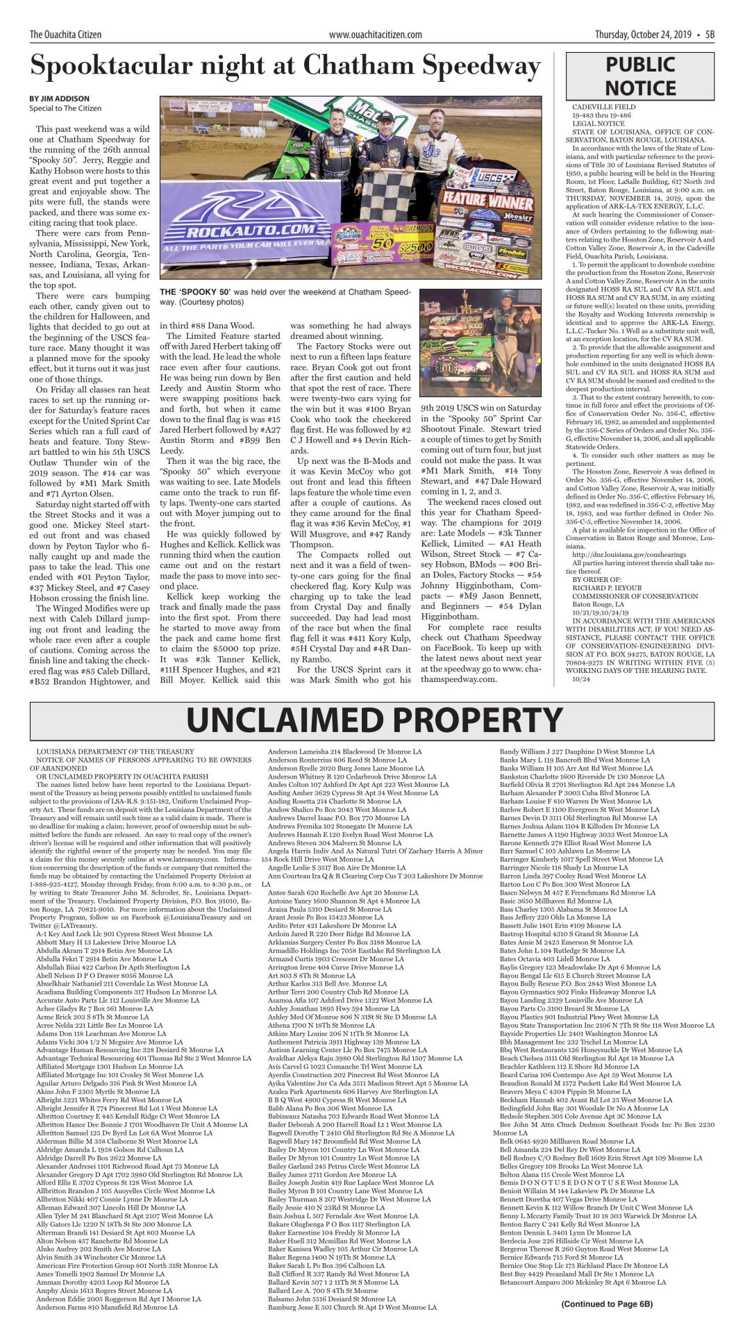 Unclaimed property, Oct. 24, 2019, click to download pages
