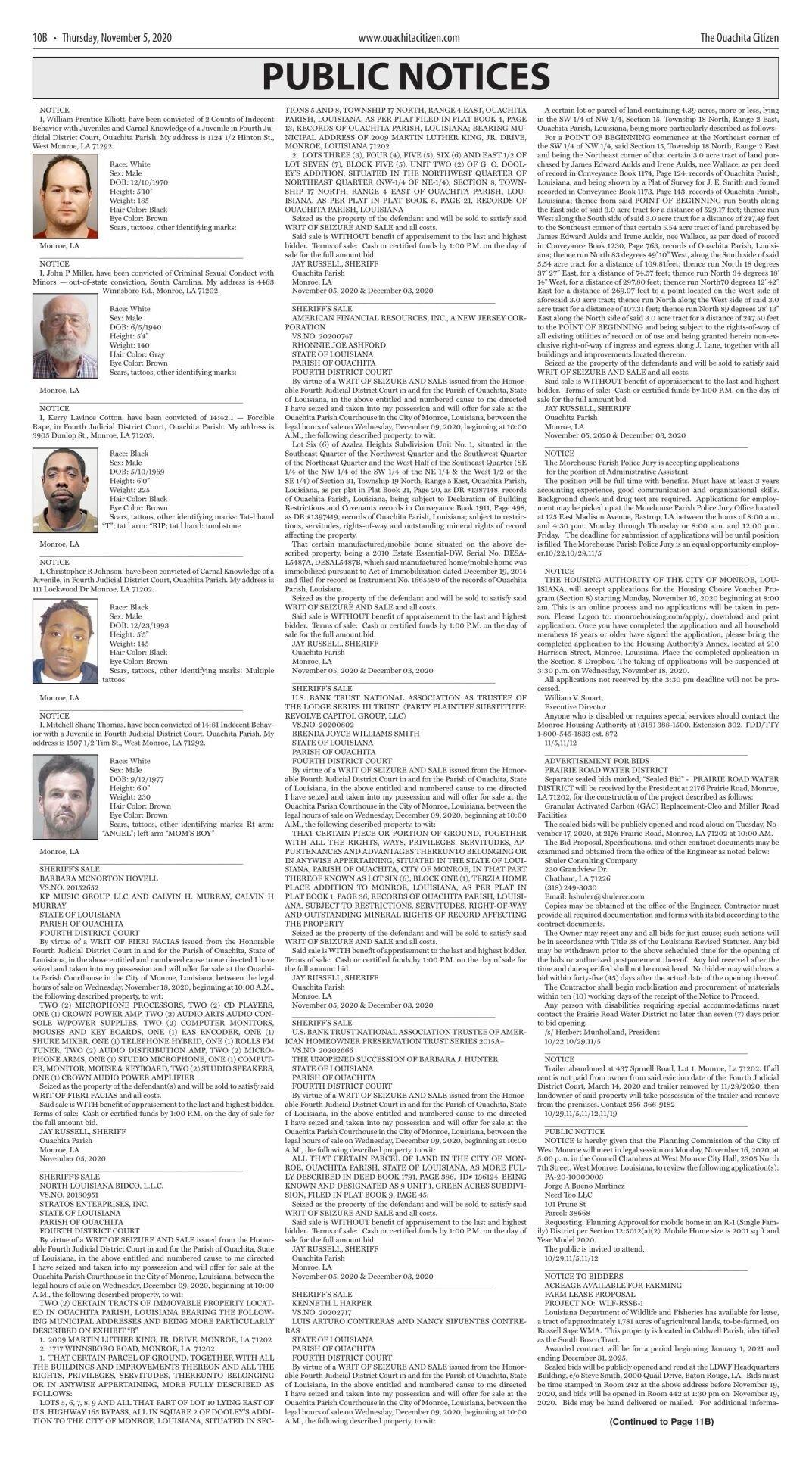 Nov. 5, 2020 Public Notices, click to download pages