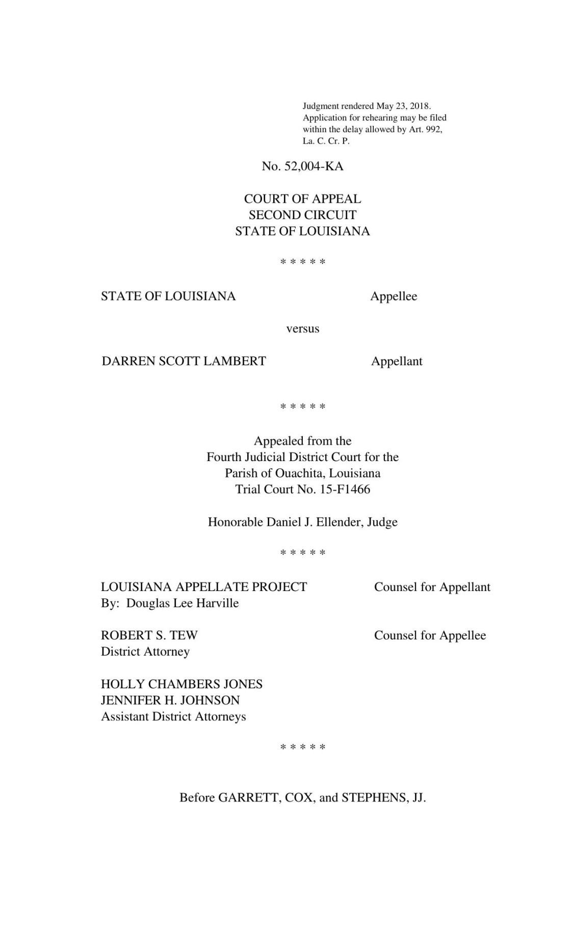 Second Circuit Ruling 23 May 2018 State Of Louisiana V Darren 2nd Court Appeals Download Pdf Lambertpdf