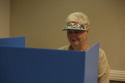 Sandy Nelson casts her vote during early voting.JPG