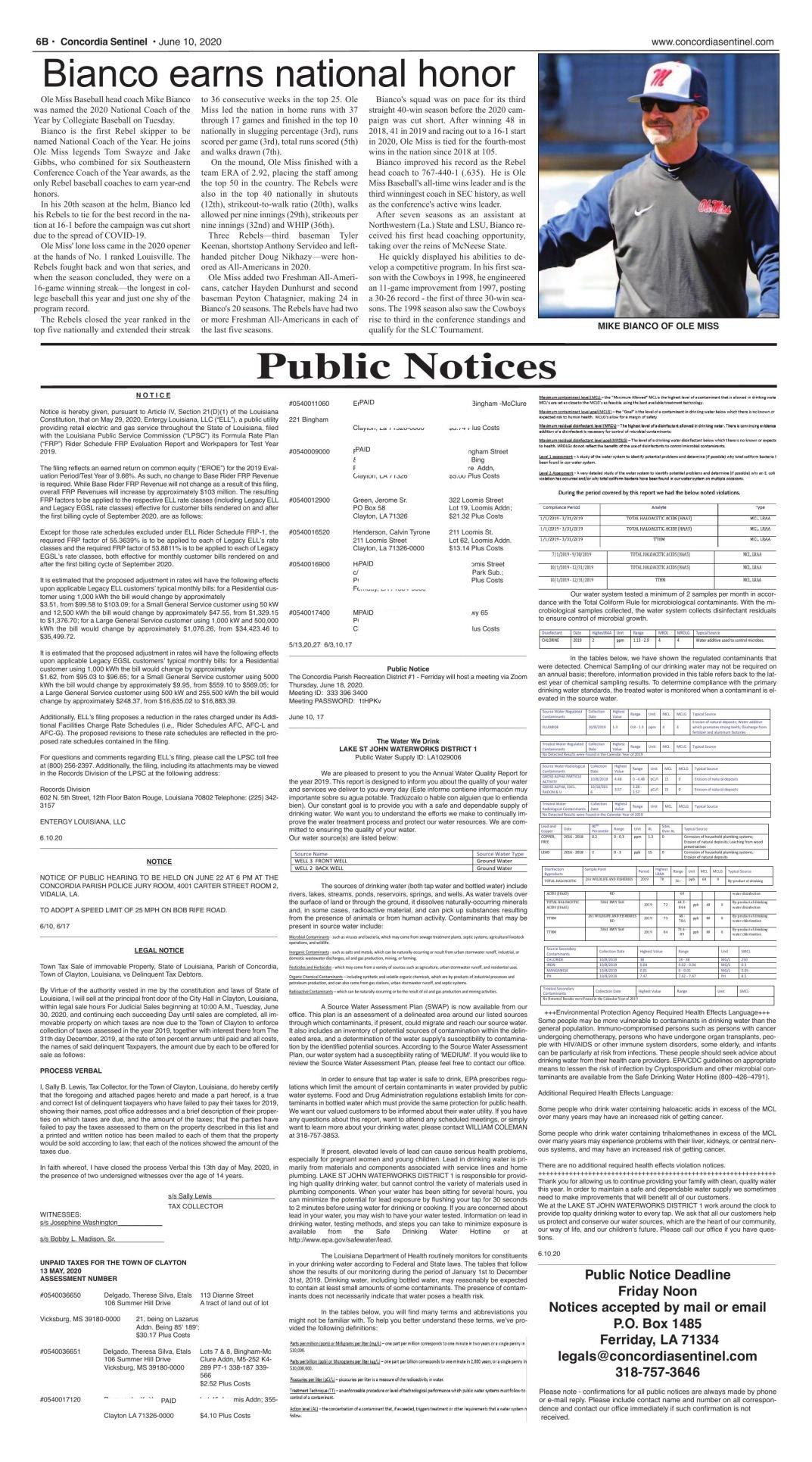 Public Notices - June 10, 2020