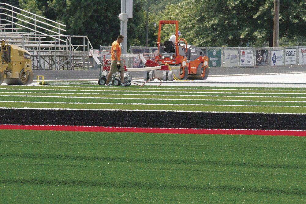 Pirates spruce up Porter Stadium with new turf, refurbished floor at Korf Gymnasium