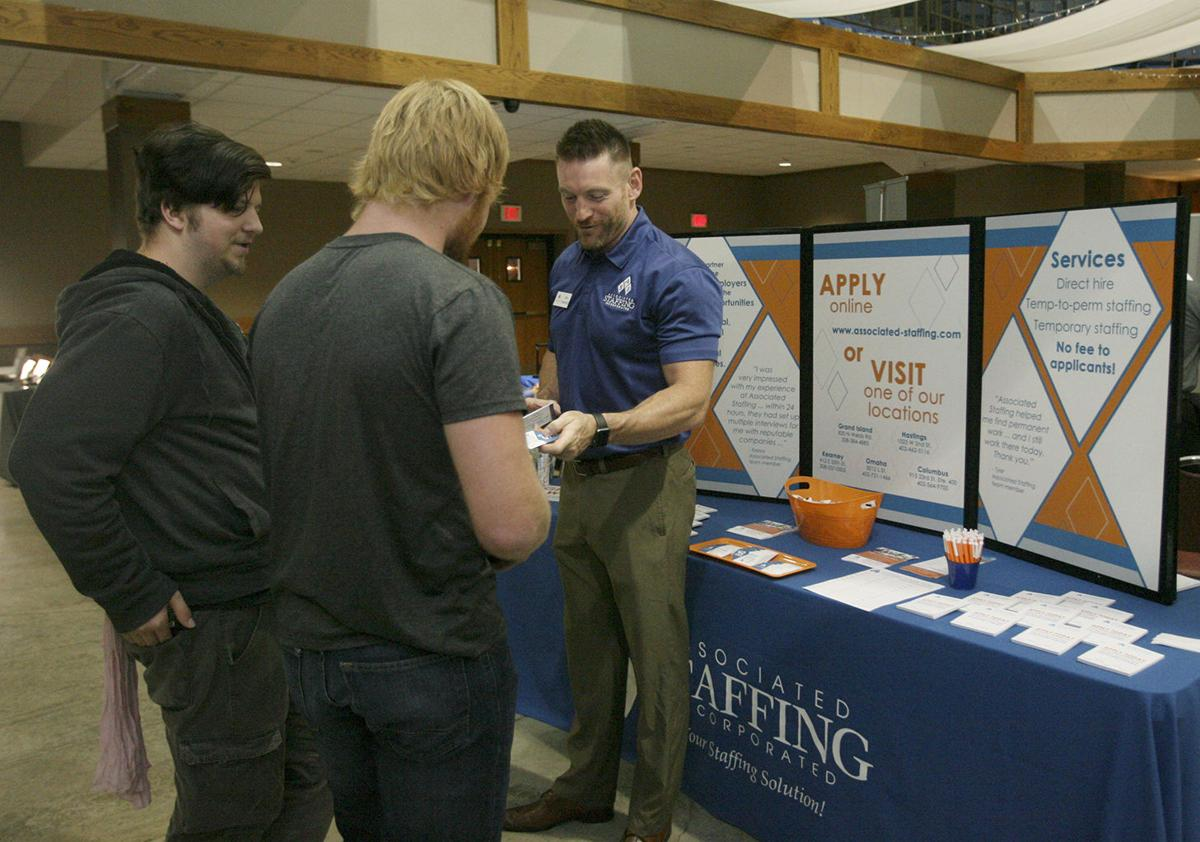 Connections made at career fair local news hastingstribune ryan dennhardt operations manager for associated staffing talks with central community college hastings students brook stevens left and zack long during publicscrutiny Image collections