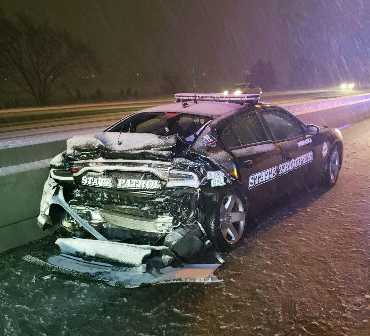 Patrol vehicle totaled