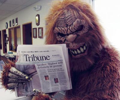 Sasquatch visits the Tribune