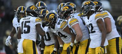 Iowa Football Hawkeyes Huddle Purdue