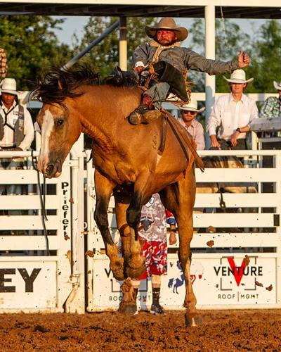 STAMPEDE CHAMPION: Three-time world champion Will Lowe scores an 89