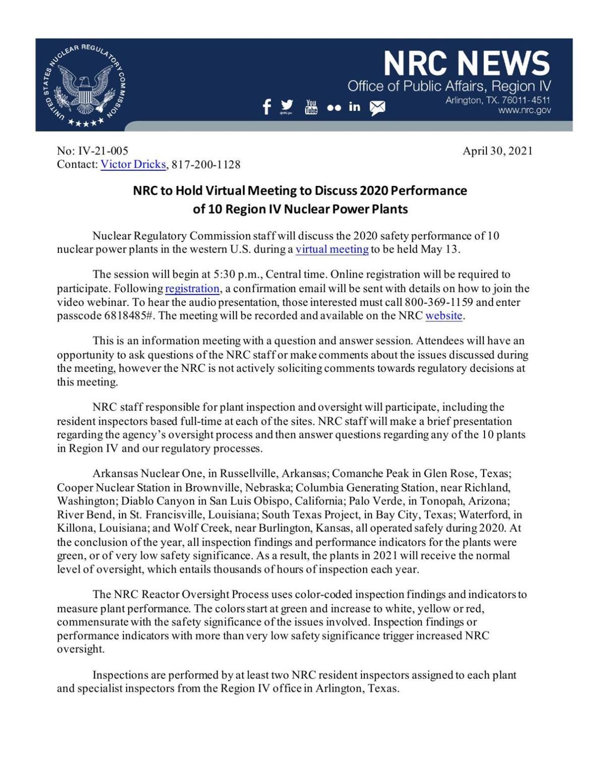 NRC to Hold Virtual Meeting