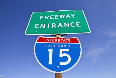 PHOTO: California Interstate 15 Freeway Entrance Sign