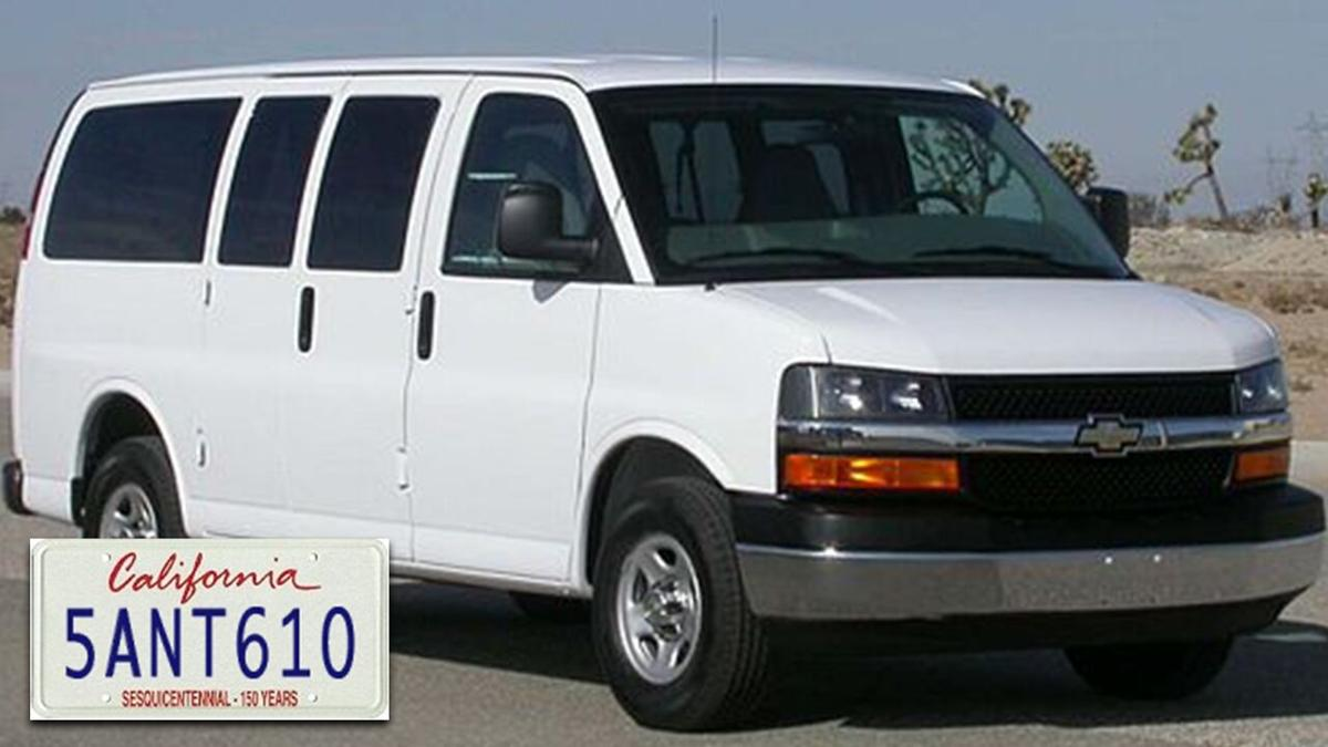 PHOTO: Stolen van with license plate, Victor Valley Warming Center