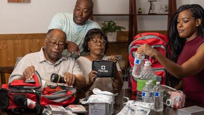 PHOTO: Hart Family prepares emergency preparedness bags