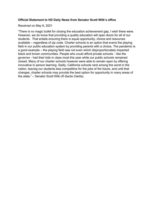 FILE: Scott Wilk statement - achievement gap
