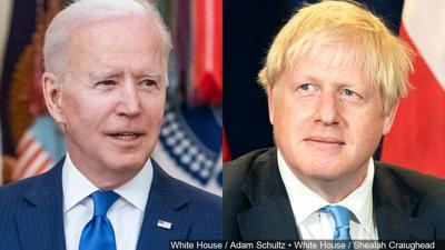 PHOTO: (L-R) US President Joe Biden and UK Prime Minister Boris Johnson (Joe Biden to meet with Boris Johnson today)