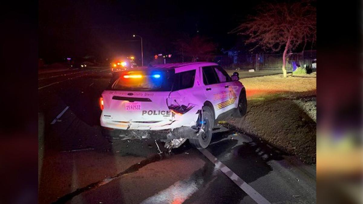 PHOTO: Victorville Police Car, wrecked