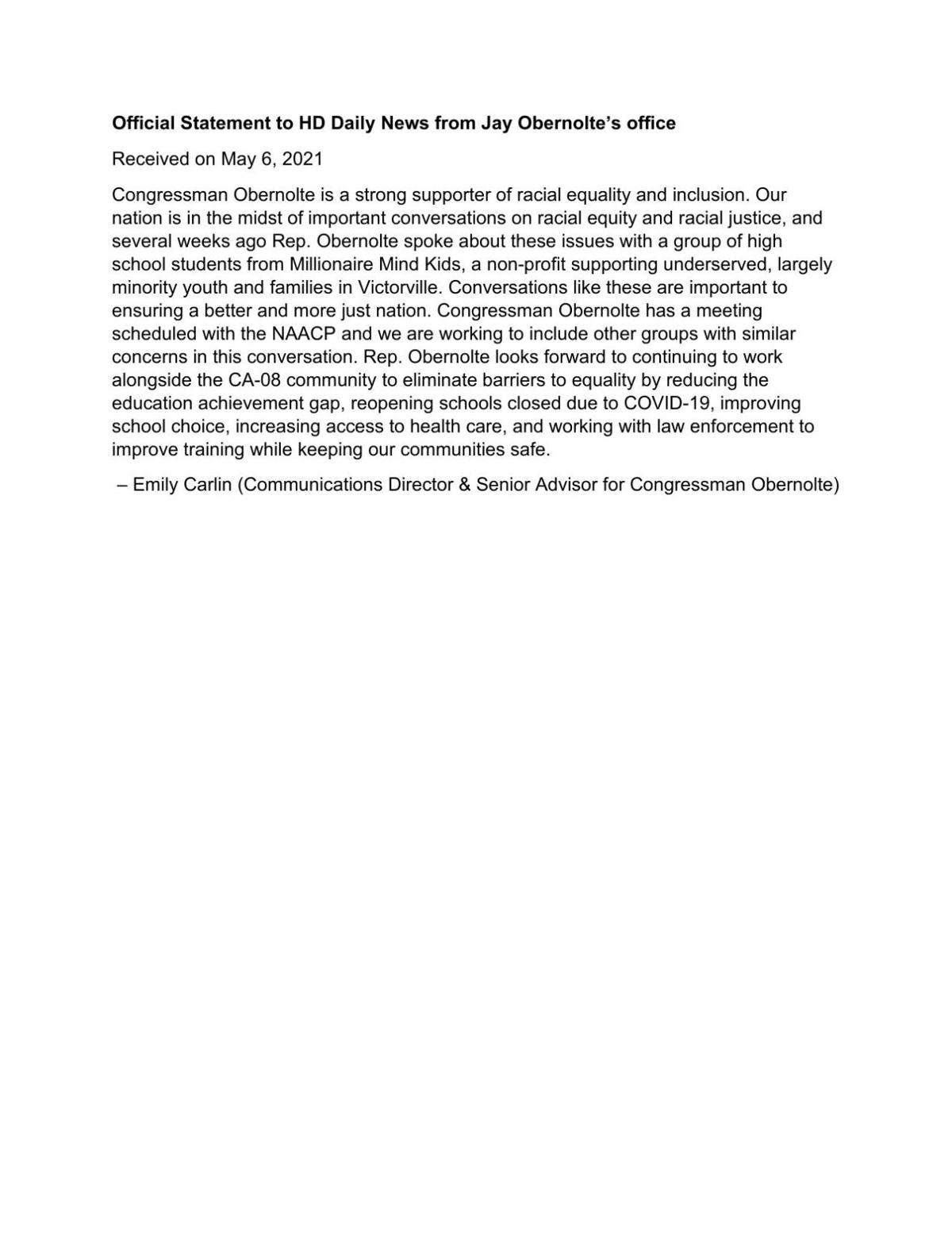 FILE: Jay Obernolte response - racial equity