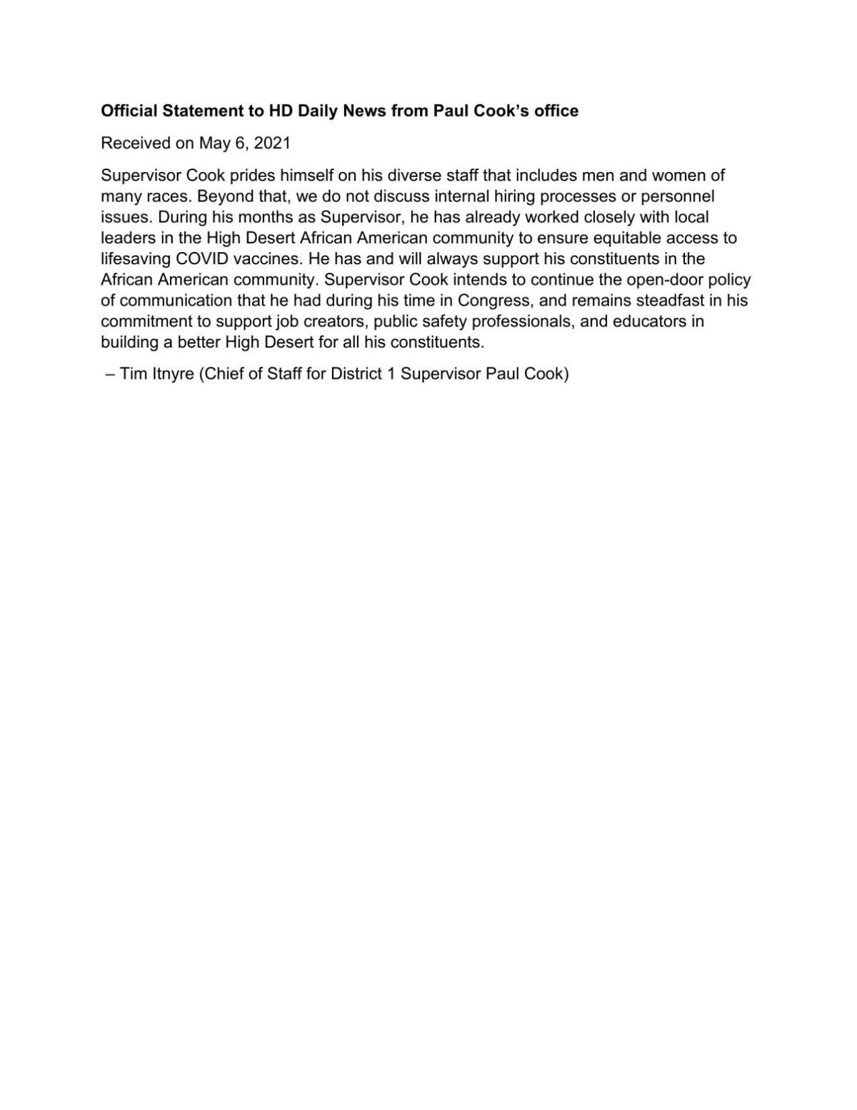 FILE: Paul Cook statement on racial equity