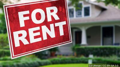 """STILL UNTITLED: """"For Rent"""" sign over a house background"""
