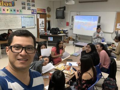 Oscar Juarez and students