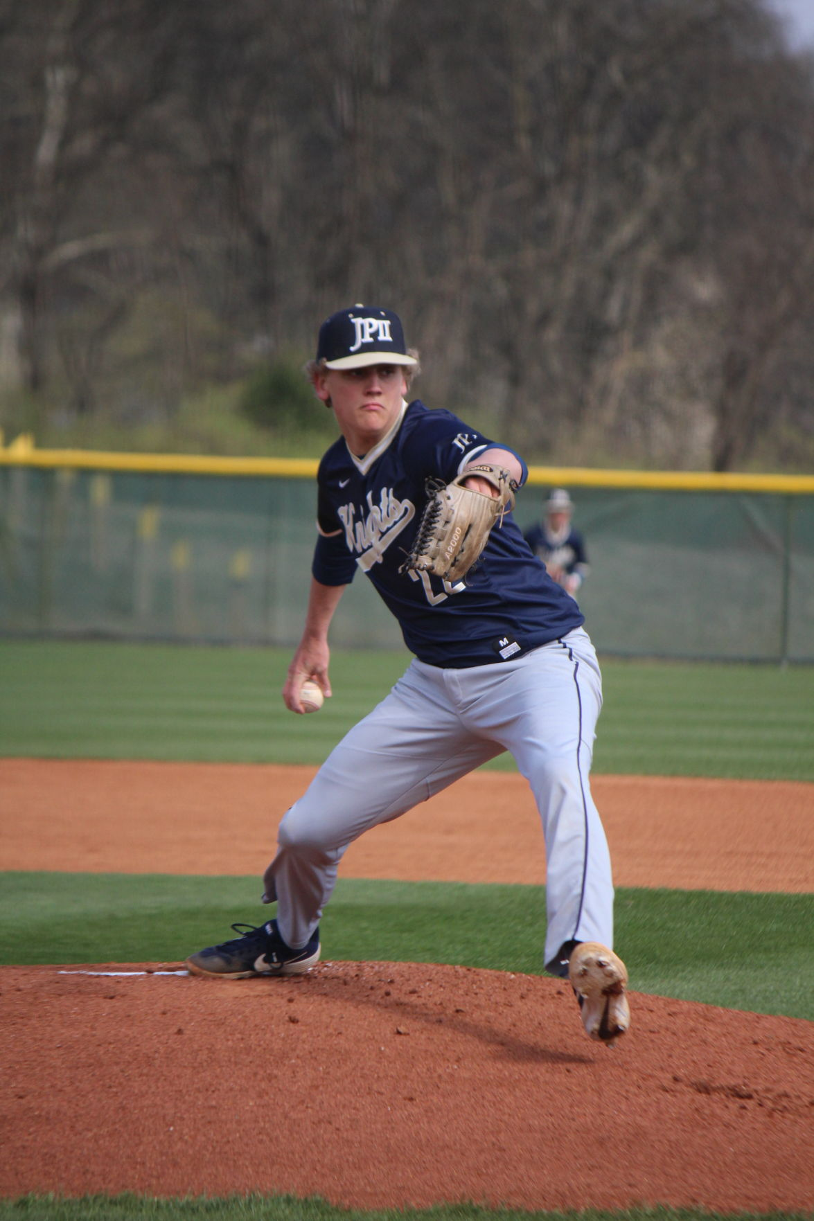 Deuce Drennan gets the start on the mound for the Knights against Clarksville Academy. .JPG