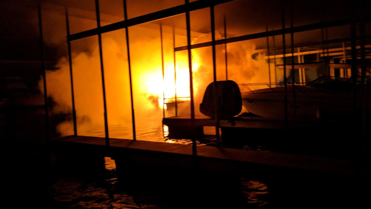 Marina fire damages three boats; no injuries reported