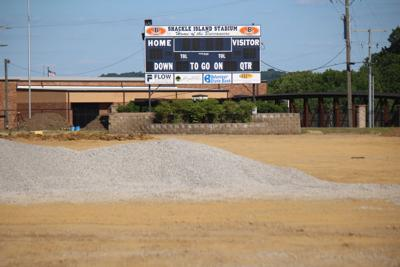 Shackle Island Stadium is under construction this summer as the school will install artificial turf on the football field. ZACH WOMBLE