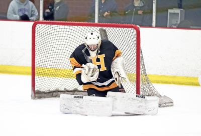 HHS goalie Brandon Shaw had a 17-save shutout against Father Ryan on Wednesday.jpg
