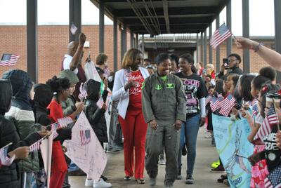 Stockbridge students celebrate 1st Lt. Andrea Lewis with assembly