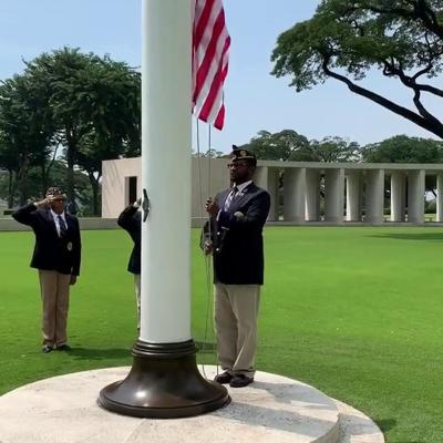 VIDEO: Ceremonial flag-raising for Tec 5 Willie B. Hatcher, Manila American Cemetery