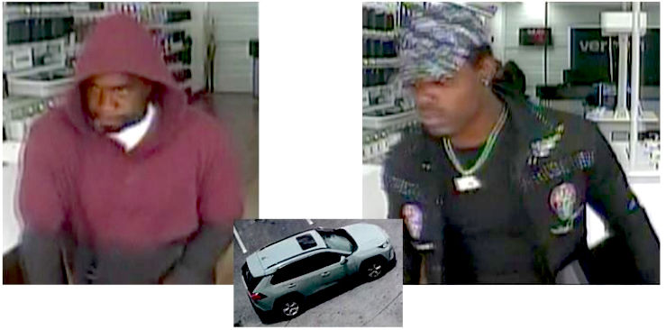HCPD on lookout for Verizon robbery suspects, seafoam green SUV