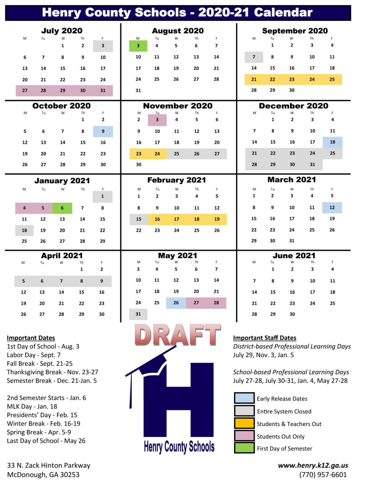 Henry County School Calendar 2020 Future school calendars out for review | News | henryherald.com