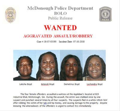 Four women sought in Applebee's steak-knife stabbing