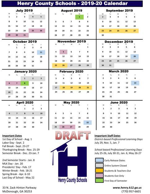 Future school calendars out for review | News | henryherald.com