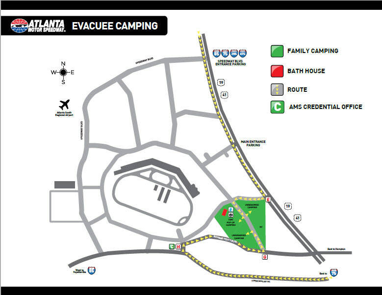 Atlanta motor speedway to open camping facilities for for Atlanta motor speedway lights 2017