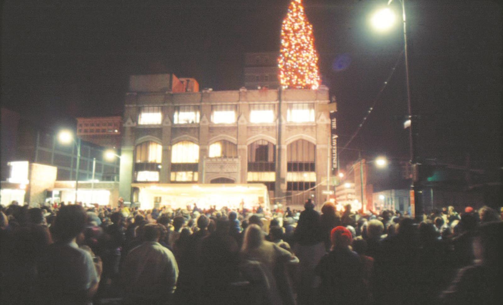 The Rooftop Christmas Tree.Rooftop Christmas Tree Herald Dispatch Com