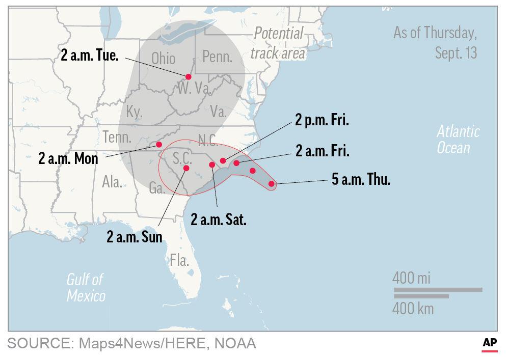 Hurricane Florence begins soaking the Carolina coastline