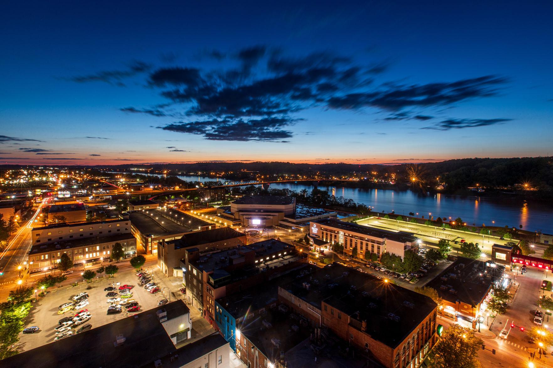 Downtown Huntington lights up at sunset