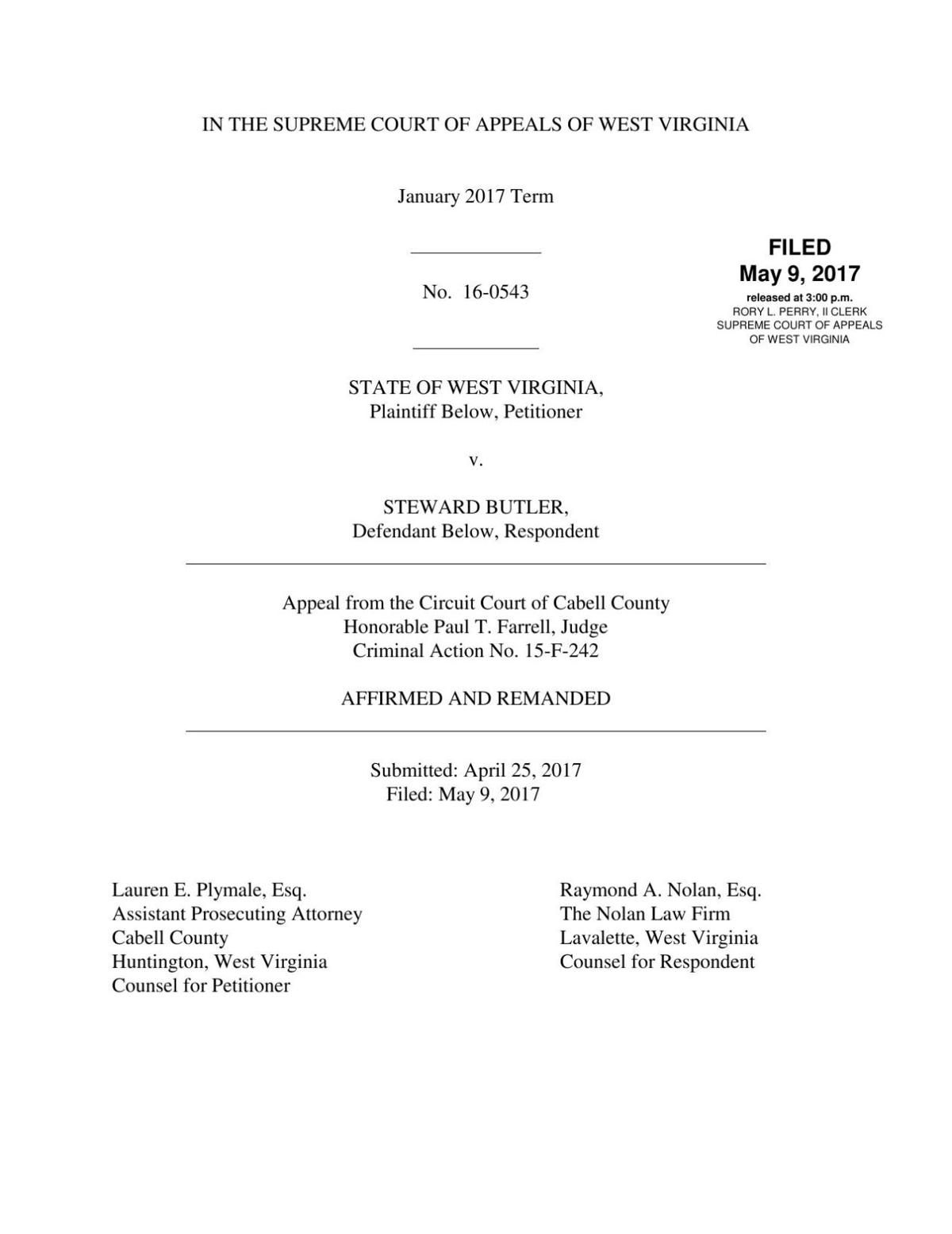 Pdf Majority Opinion In Steward Butler Case No The Court Of Appeals Virginia Is A State Appellate For Download