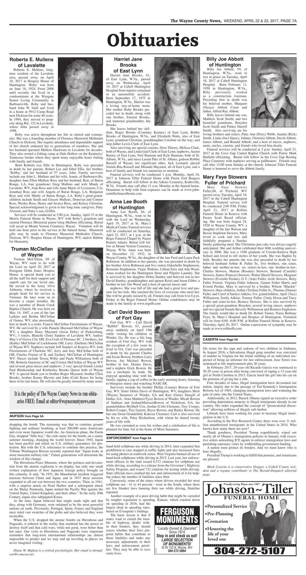 April 22, 2017 Obituaries | Wc Obituaries | herald-dispatch com