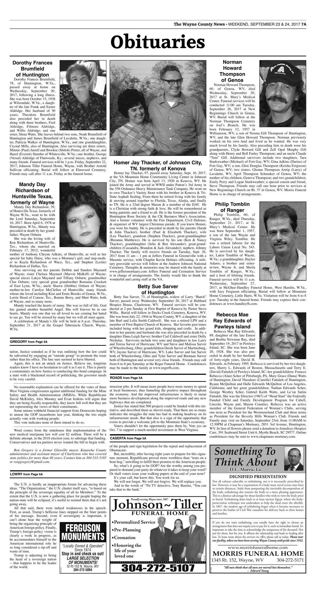 September 23, 2017 Obituaries | Wc Obituaries | herald-dispatch com