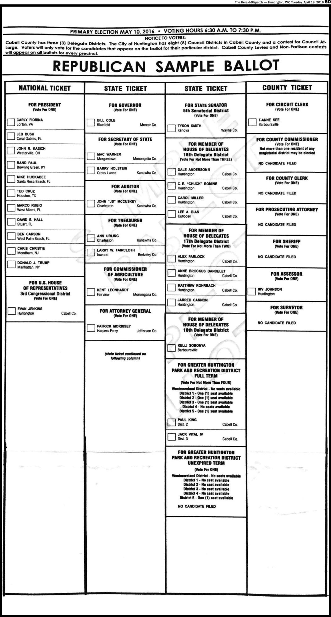 Primary 2016 Cabell County Sample Ballot | Elections | herald ...