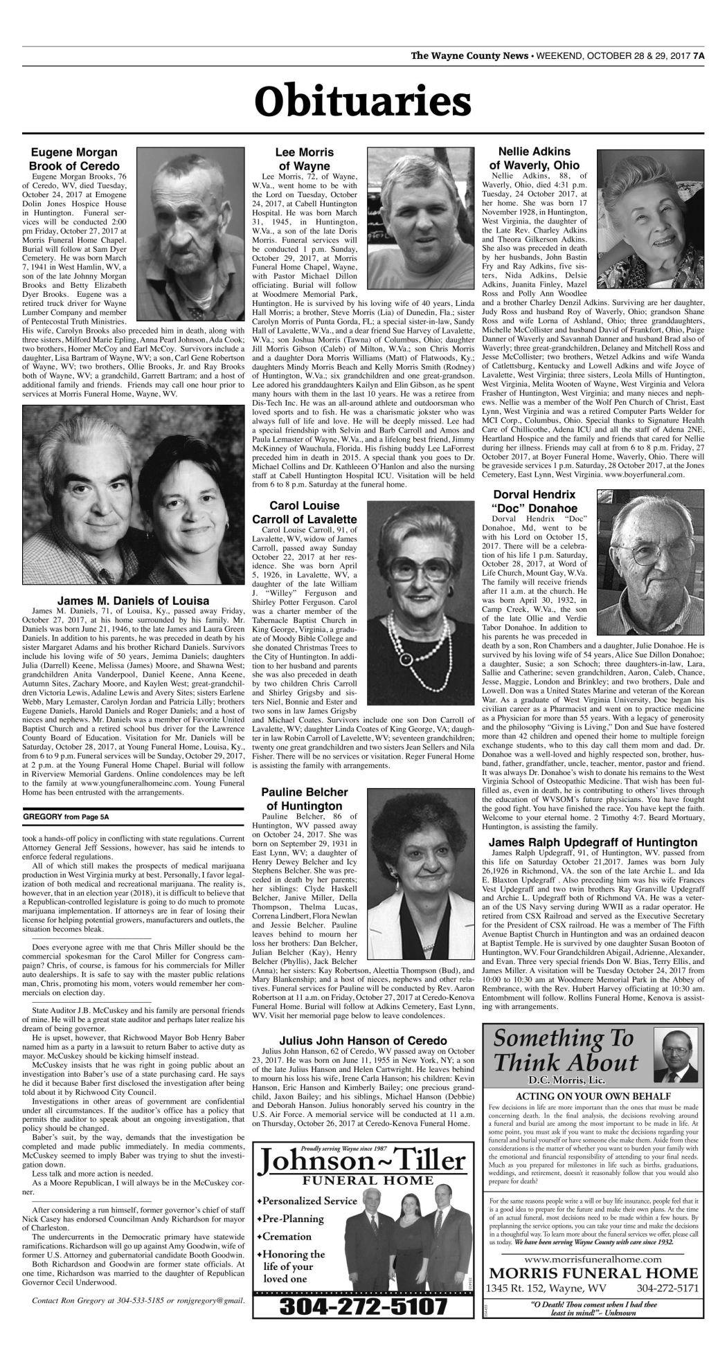 October 28, 2017 Obituaries | Wc Obituaries | herald-dispatch com