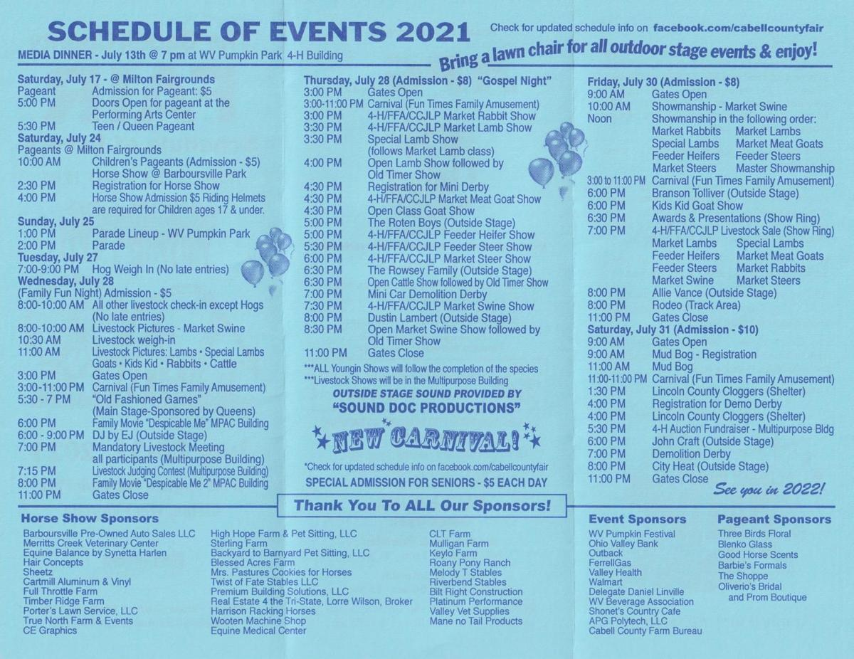 PDF: Cabell County Fair Schedule 2021