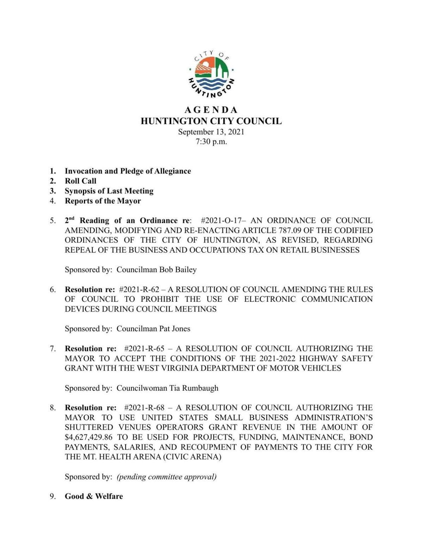 PDF: City Council agenda Sept. 13