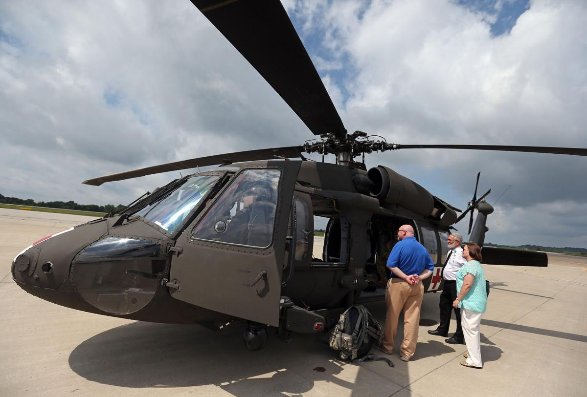 Black Hawk helicopter used to pick up blood donation for