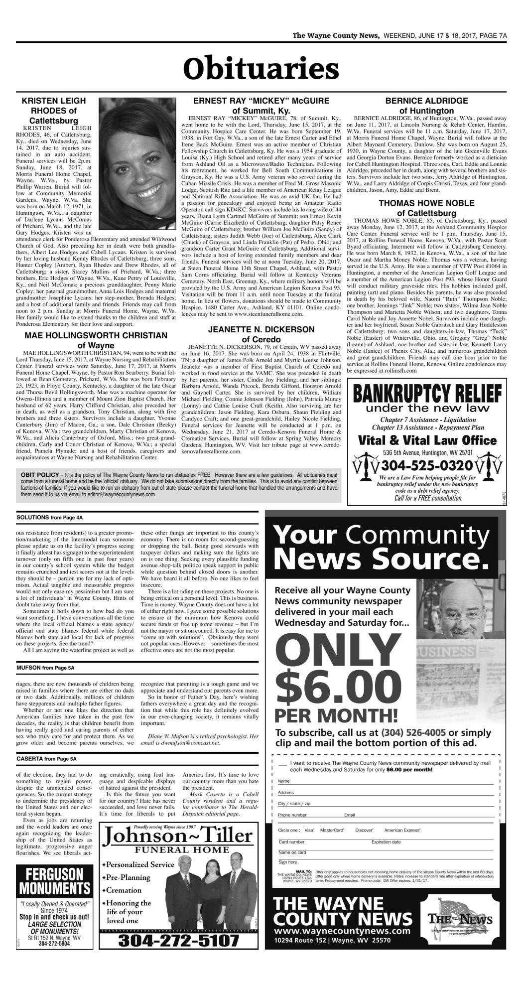 June 17, 2017 Obituaries | Wc Obituaries | herald-dispatch com