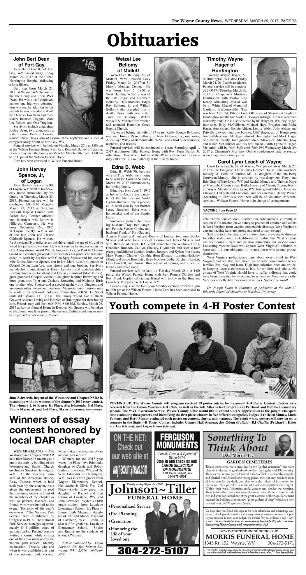 March 29, 2017 Obituaries | Wc Obituaries | herald-dispatch com