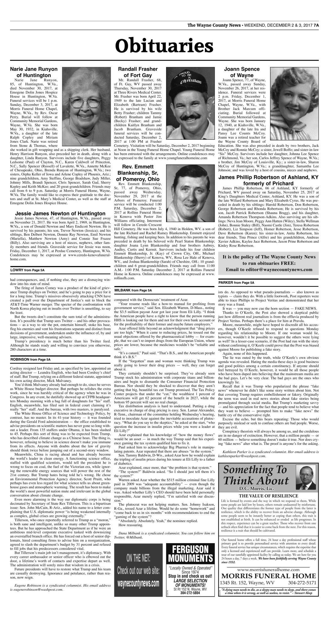 December 2, 2017 Obituaries | Wc Obituaries | herald-dispatch com