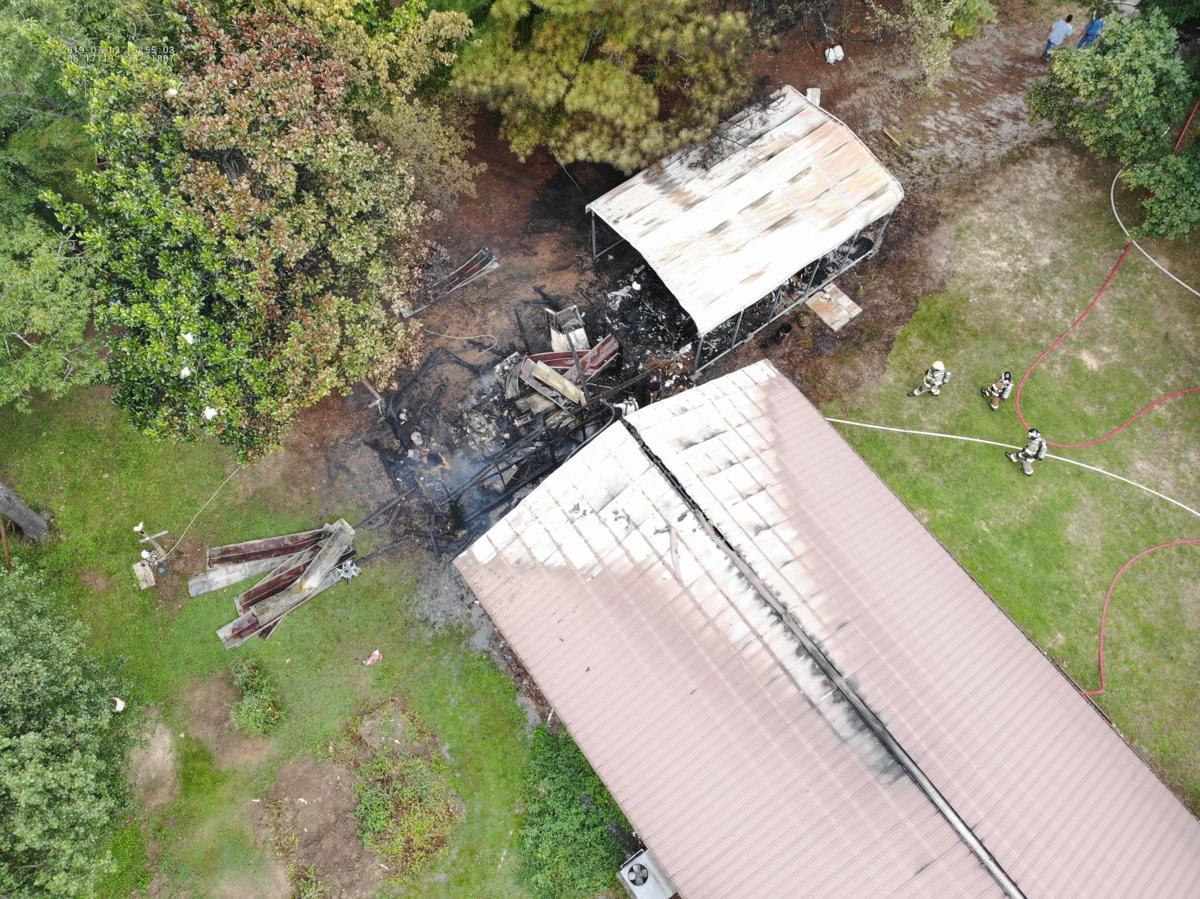 An overhead shot at Meadowwood Lane fire