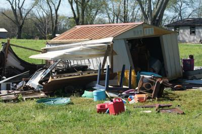 Damaged shed